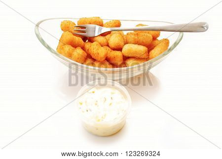 Popcorn Shrimp with Tartar Sauce in a Glass Bowl
