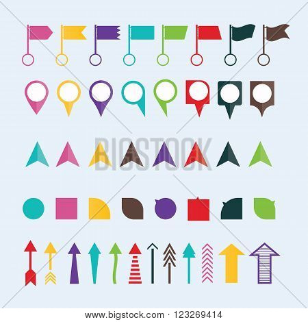 modern vector illustration of geo location pins travel elements composition map tag flag navigation symbols
