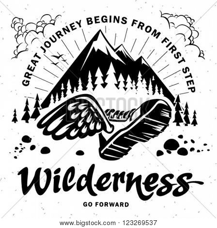 Hand crafted lettering on the topic traveling. Mountain journey