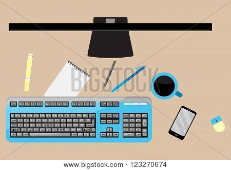 Work space top view. Workspace and desk office and work office space workplace and office interior office work space. Desktop and paperwork. Vector abstract flat design illustration
