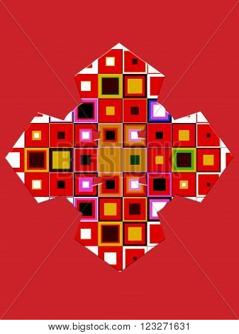 Abstract composition of colored geometric figures on a bright red background.