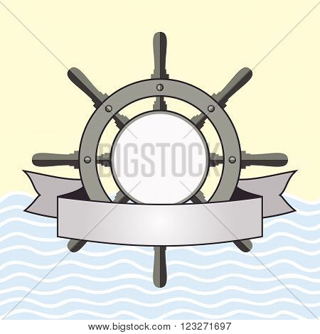 Ship helm vector background. Steering helm with banner and blank area for text. Ship helm vector symbol with blank banner. EPS8 vector illustration.