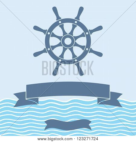 Ship helm vector background. Ship helm silhouette and banner with blank space for text. Ship helm vector sign with blank banner. EPS8 vector illustration.