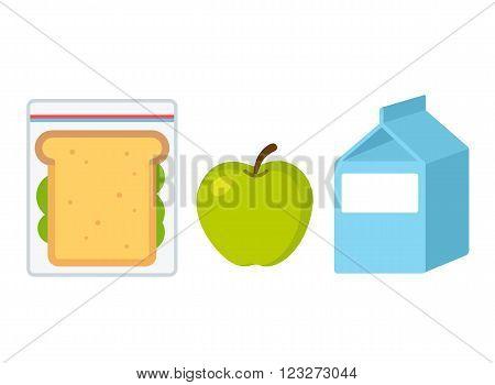 School lunch set: sandwich apple and milk. Flat cartoon vector style illustration.