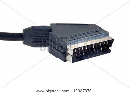 Scart cable isolated on white clipping path