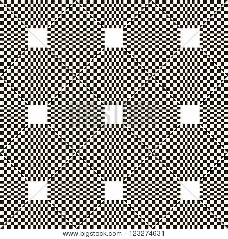 Monochrome chequered pattern with squares. Vector seamless
