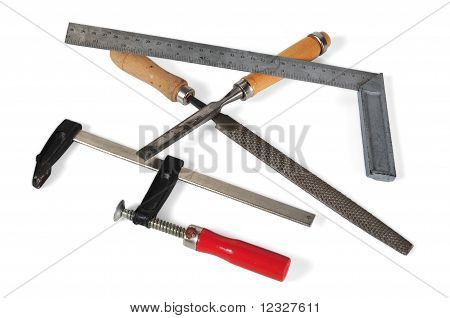 first plane of tools with white bottom poster