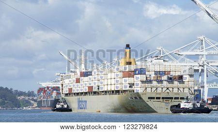 Matson Cargo Ship Manoa Departing The Port Of Oakland