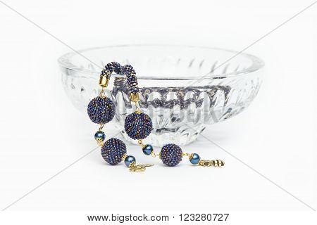 Violet crochet rope in a crystal vase