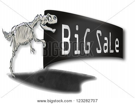 Big Rex dinosaur skeleton with a sign in his paws cheapening