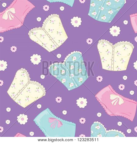 Vector reto pattern of fashion corset and shorts for sleep