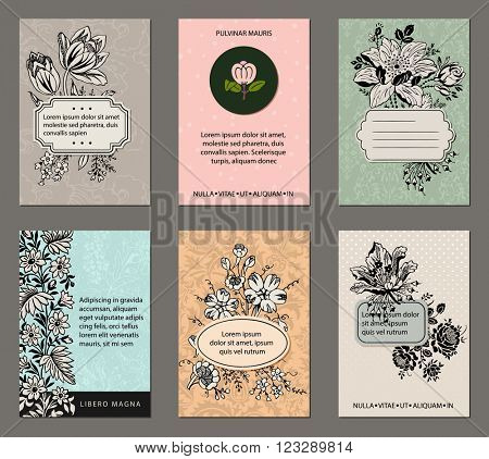 Vintage Floral Cards - Set of pastel floral cards with inked botanicals, patterned background, labels and ample copy space