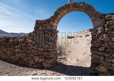 Gate in remote area of Altiplano Bolivia, South America