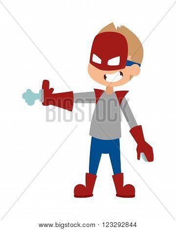 Super hero little boy in mask, cute super hero boy vector. Illustration of super boy cartoon character vector. Young school kid super hero costume, power kids