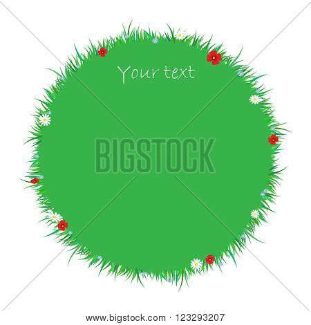 f Green grass banners with spring flowers , vector illustration.