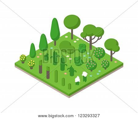 Isometric tree forest set and isometric design tree garden plant vector. Isometric tree forest 3d. Isometric vector green tree set on white background illustration. Green isometric forest flat style