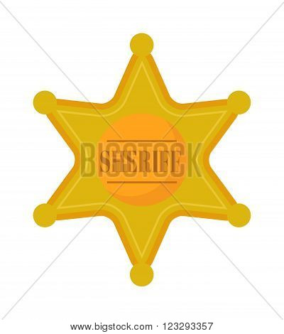Sheriff gold star badge and justice western sheriff star old american gold retro badge vector. Golden west sheriff star metal badge vector icon. Western American police star symbol