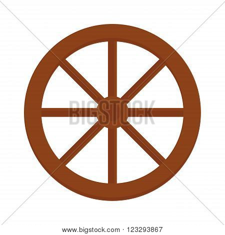 Cart wheel brown western round object and handmade cart retro wheel rustic history icon. Old wooden vintage wheel from cart transportation vector illustration.