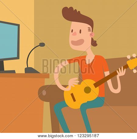 Cartoon musician guitar and musician play on sound guitar. Young musician plays on the electric guitar with bright emotions vector illustration