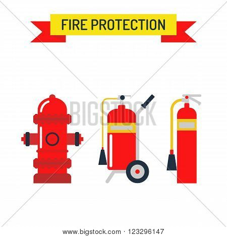 Red fire hydrant security tool and red fire hydrant street symbol. Red fire hydrant emergency department flat vector illustration isolated on white.