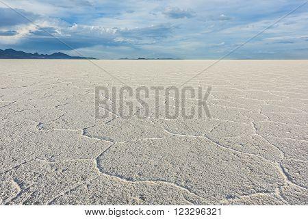 Wide Angle Closeup of White Salt Flats near Salt Lake City, Utah