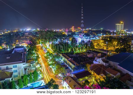 Can Tho, Vietnam - February 3rd, 2016: Can Tho city night with building architecture to shine, far away from television towers demonstrate civilized development regional Mekong Delta Can Tho, Vietnam