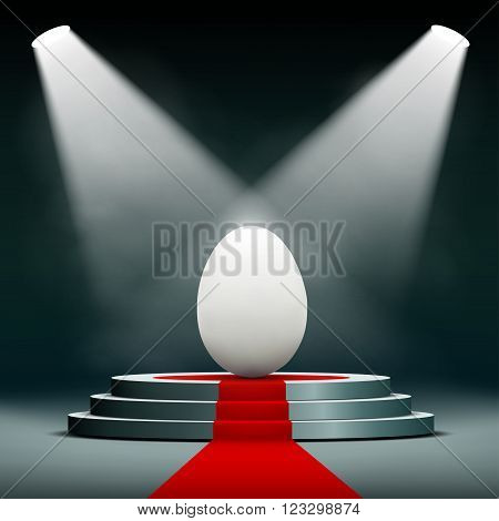 Easter egg on the pedestal. Stock vector illustration.