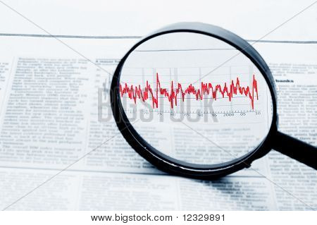 A Magnifying Glass Focusing On A Graph In The Business Section O