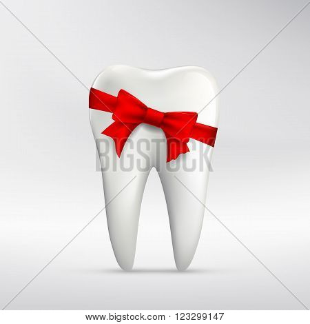 Human tooth with red ribbon. Stock vector illustration.