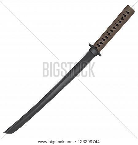 Wooden traditional sword for training. Vector illustration.