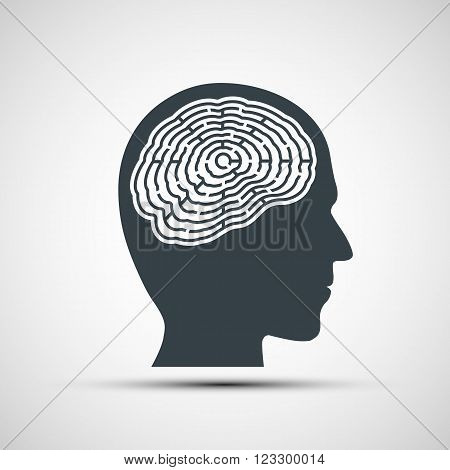 Human head with a labyrinth. Stock vector illustration.