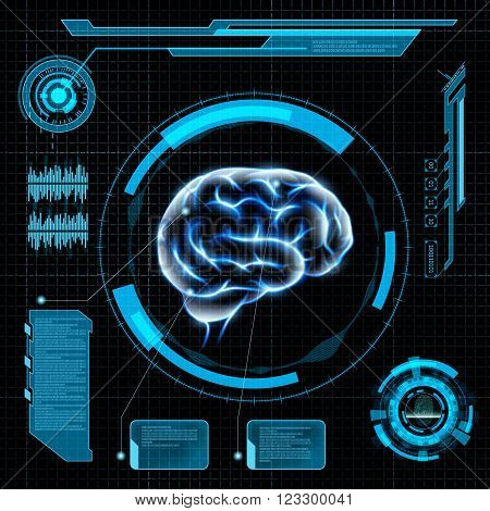 Scanning the human brain. Futuristic HUD interface. Stock vector illustration.