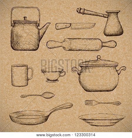 Kitchenware. Doodle image in style retro. Stock vector illustration.