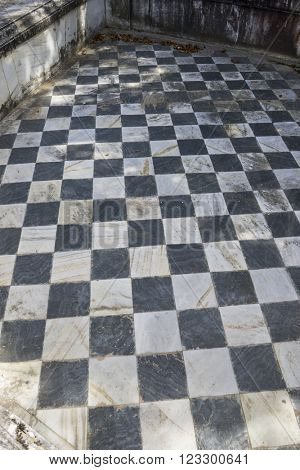 checkerboard, gamero textured floor or chess, nineteenth century, grungy texture and old