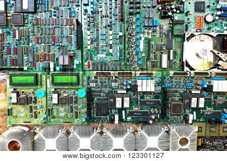BANGKOK, THAILAND - FEBRUARY 03, 2016: Microprocessor on motherboard and various cards from Intel and other suppliers.