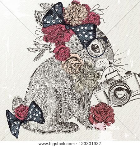 Fashion hipster background with hand drawn rabbit holding a vintage camera imitation of retro postcard Easter theme