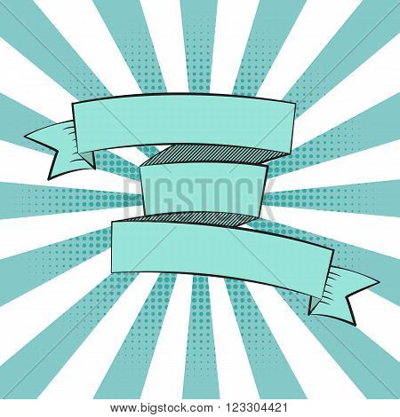 Beautiful Ribbon Label in Pop Art Style Vector Illustration EPS10