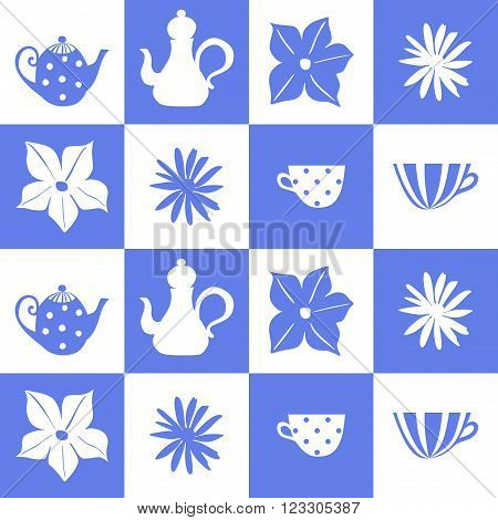 Teatime. Blue and white tiling background. Seamless vector illustration. Can be used for ceramic tiles.