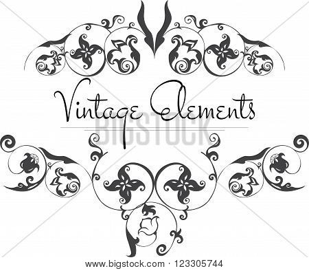 Hand Drawn Vintage Flourishes on white. Vintage frame isolated on white