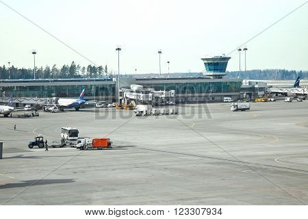 MOSCOW, RUSSIA -- March 11.2016: Airfield, terminal and control tower in Sheremetyevo airport