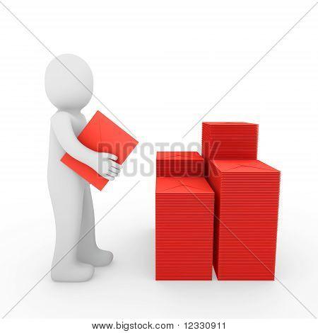 Красный почтовый ящик 3D человека письмо