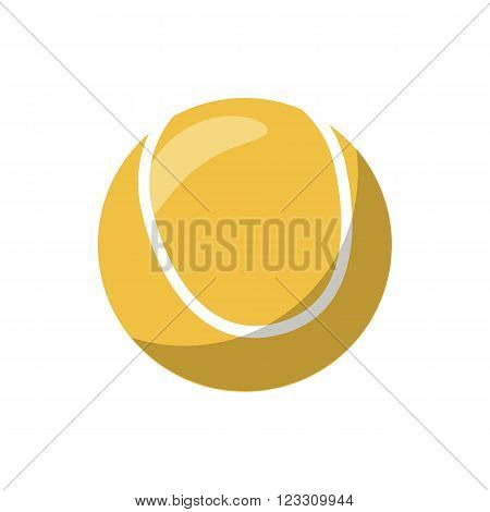 Tennis ball icon in cartoon style on a white background