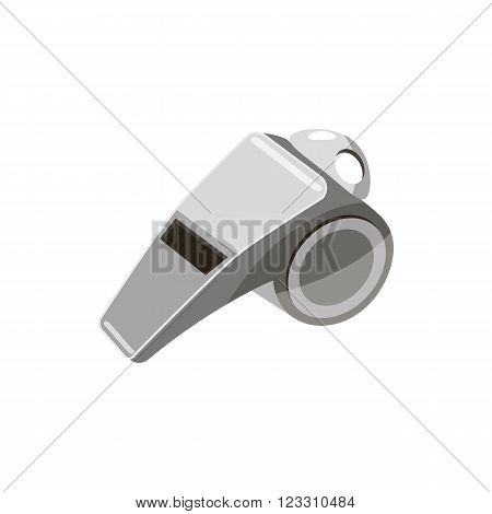 Metal whistle icon in cartoon style on a white background