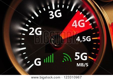 Speedometer and 4G high speed internet high quality computer graph
