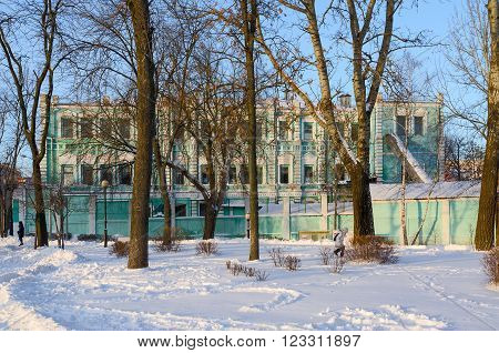 GOMEL BELARUS - JANUARY 17 2016: Building of Open Joint Stock Company Polespechat on Street Sovetskaya. Built in the eighties of the XIX century by the architect E.K.Torlin before the revolution - the building of the City Duma