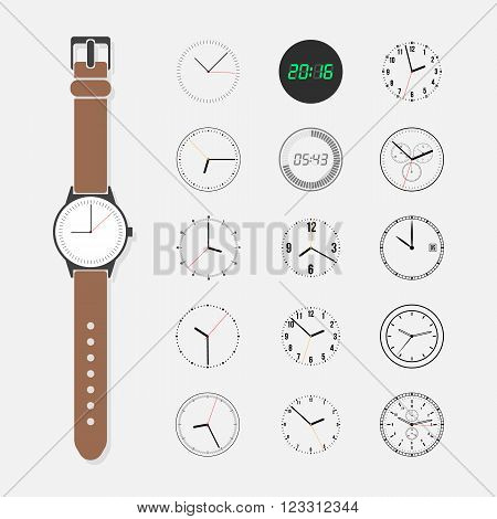 Watch face vector set. Wrist watch and a set of watch face isolated on a light background. Round watch face trendy collection. Fifteen different watch dials.