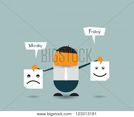 Vector Illustration Cute cartoon. Businessman hide his real face and holding papers with happy and sad emoticons. chooses an emotional faces