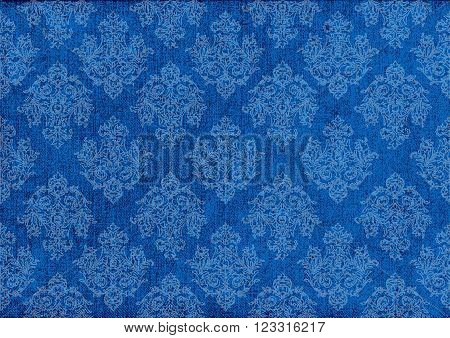 old blue canvas with  barocco ornament.vector illustration