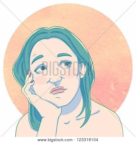 Portrait of dreaming young girl with hand in her face on the background of the watercolor circle