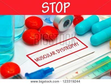 Stop muscular dystrophy. Vaccine to treat disease. Syringe and vaccine with drugs.